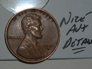 WHEAT PENNY 1937D NICE LINCOLN CENT 1937 D AU  DETAILS GREAT CHOCHOLETE BROWN