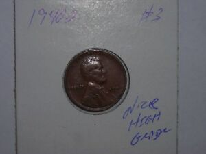 WHEAT PENNY 1940D NICE HIGH GRADE 1940 D LINCOLN CENT LOT 3 SHARP LUSTER