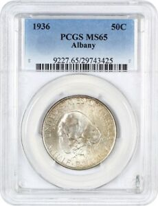 1936 ALBANY 50C PCGS MS65   LOW MINTAGE ISSUE   SILVER CLASSIC COMMEMORATIVE