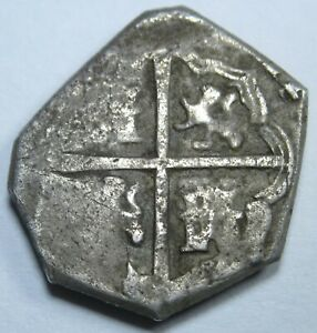 1600'S SPANISH SILVER 1 REALES PIECE OF 8 REAL COLONIAL PIRATE TREASURE COB COIN