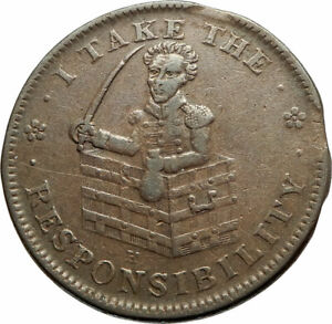 1837 UNITED STATES US HARD TIMES POLITICAL TOKEN W ANDREW JACKSON JACKASS I77048