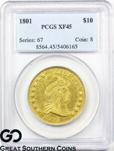 1801 GOLD EAGLE $10 CAPPED BUST TO RIGHT PCGS XF 45     COLLECTOR GOLD