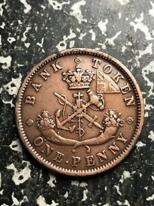 1854 UPPER CANADA 1 PENNY TOKEN LOTL4633 CLEANED