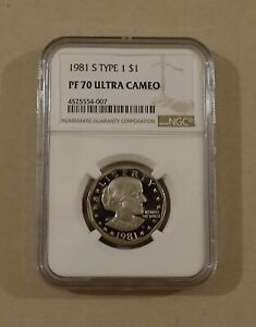 1981 S TYPE 1 $1 SUSAN B. ANTHONY SBA NGC PF70 ULTRA CAMEO   ONE DOLLAR