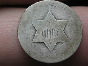 1851 THREE 3 CENT SILVER TRIME