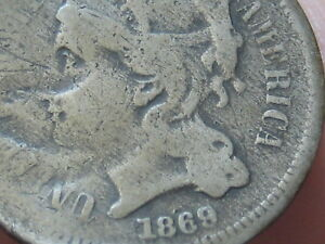 1869 THREE 3 CENT NICKEL  OLD TYPE COIN