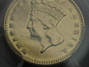 1877 $1 GOLD INDIAN PRINCESS ONE DOLLAR COIN  PCGS CERTIFIED VF DETAILS