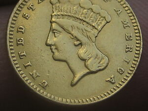 1876 $1 GOLD INDIAN PRINCESS ONE DOLLAR COIN  LY