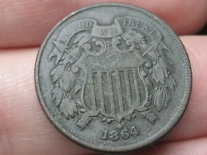 1864 TWO 2 CENT PIECE  LARGE MOTTO XF DETAILS WE SHOWING