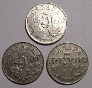 1924 1931 1936 CANADA  5  FIVE CENTS CANADIAN NICKEL COINS COIN