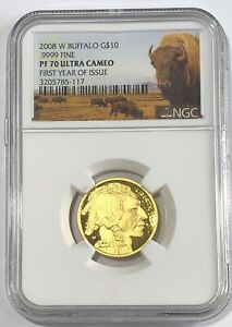Click now to see the BUY IT NOW Price! 2008 W $10 NGC PF70 ULTRA CAMEO GOLD BUFFALO FIRST YEAR OF ISSUE .9999 FINE