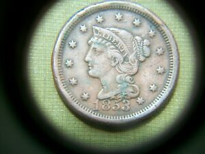 USA/AMERICA 1853 LARGE CENT POSSIBLE DATE/PUNCH BLUNDER/DOUBLE STRUCK?