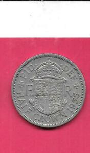GREAT BRITAIN BRITISH KM907 1955 VF VERY FINE NICE OLD VINTAGE 1/2 CROWN COIN