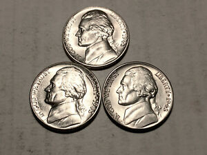 1943 P D S  CHOICE BU SILVER JEFFERSON NICKELS SET OF 3  GROUP48