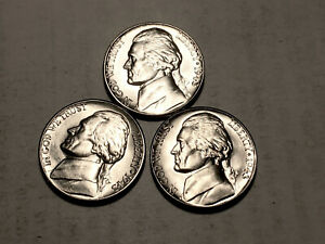 1943 P D S  CHOICE BU SILVER JEFFERSON NICKELS SET OF 3  GROUP49