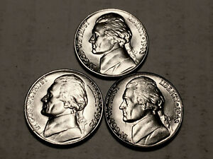 1943 P D S  CHOICE BU SILVER JEFFERSON NICKELS SET OF 3  GROUP50
