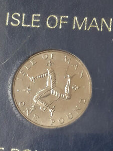 ISLE OF MAN MANX 1978 PERCY'S 1 ONE POUND TRISKELES OVER ISLAND CASED