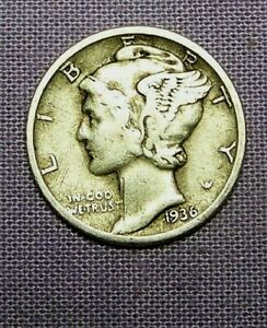 1936 P  PHILADELPHIA  MINT SILVER MERCURY HEAD DIME     90623197