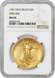 Click now to see the BUY IT NOW Price! 1907 HIGH RELIEF $20 NGC MS64  WIRE RIM    AMERICAS MOST BEAUTIFUL COIN
