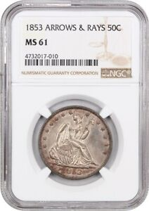 1853 50C NGC MS61  ARROWS & RAYS  DESIRABLE TYPE COIN   DESIRABLE TYPE COIN