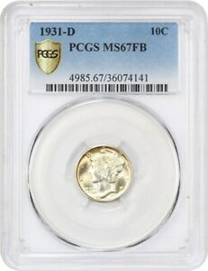 1931 D 10C PCGS MS67 FB   BEAUTIFUL GOLDEN GEM   MERCURY DIME