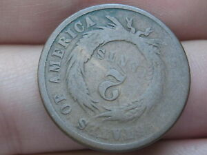 1864 TWO 2 CENT PIECE  LARGE MOTTO ROTATED REVERSE MINT ERROR