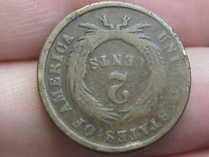 1864 TWO 2 CENT PIECE  LARGE MOTTO  COMPLETELY ROTATED REVERSE MINT ERROR