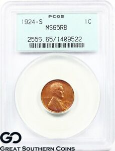 Click now to see the BUY IT NOW Price! 1924 S PCGS LINCOLN CENT WHEAT PENNY MS 65 RB   OGH MOSTLY RED RD BID: $22000