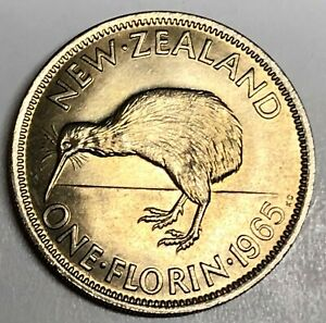 C9498     NEW ZEALAND   COIN     ONE FLORIN   1965  UNC.