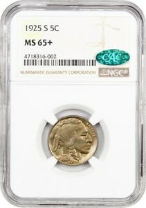 Click now to see the BUY IT NOW Price! 1925 S 5C NGC/CAC MS65     DATE   BUFFALO NICKEL    DATE