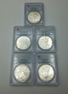 2011 PCGS FIRST STRIKE 25TH ANNIVERSARY SILVER EAGLE SET  GRADED 70