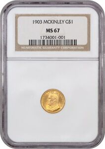 1903 MCKINLEY G$1 NGC MS67   CLASSIC COMMEMORATIVE   GOLD COIN