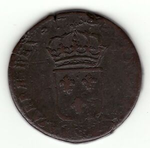FRENCH COLONIAL  DOUBLE STRUCK 1734 Q COPPER SOL OF 12 DENIERS