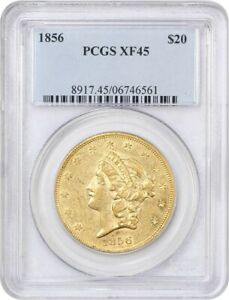 1856 $20 PCGS XF45   LIBERTY DOUBLE EAGLE   GOLD COIN