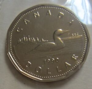 1990 CANADA PROOF LIKE ONE DOLLAR 1 $ COIN. MINT CELLO UNC KEY LOONIE.  D274