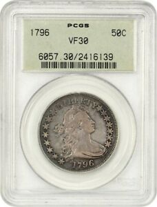 Click now to see the BUY IT NOW Price! 1796 50C PCGS VF30  15 STARS OGH  OLD GREEN LABEL HOLDER   BUST HALF DOLLAR