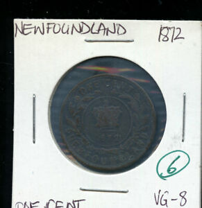 1872 NEWFOUNDLAND LARGE CENT VG8 DSP161