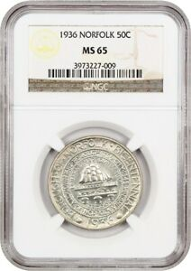 1936 NORFOLK 50C NGC MS65   LOW MINTAGE ISSUE   SILVER CLASSIC COMMEMORATIVE