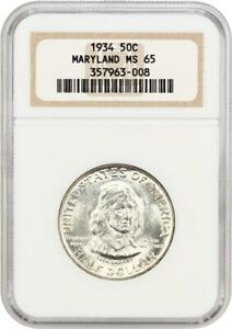 1934 MARYLAND 50C NGC MS65   SILVER CLASSIC COMMEMORATIVE