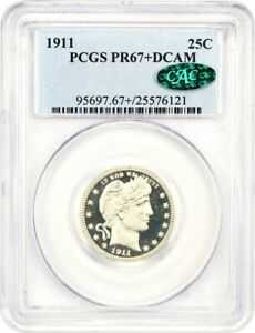 Click now to see the BUY IT NOW Price! 1911 25C PCGS/CAC PR 67  DCAM   RADIANT BLAZING WHITE MIRRORS   BARBER QUARTER
