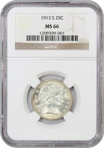 Click now to see the BUY IT NOW Price! 1913 S 25C NGC MS66   FAMOUS KEY DATE   BARBER QUARTER   FAMOUS KEY DATE