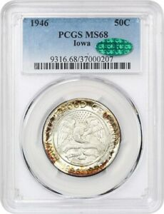 Click now to see the BUY IT NOW Price! 1946 IOWA 50C PCGS/CAC MS68   COLORFUL RIM TONING   SILVER CLASSIC COMMEMORATIVE