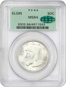 1936 ELGIN 50C PCGS/CAC MS64  OGH  OLD GREEN LABEL HOLDER