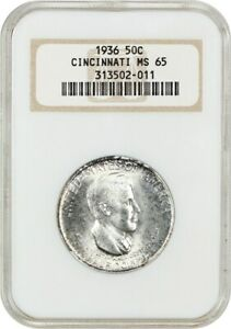 1936 CINCINNATI 50C NGC MS65   LOW MINTAGE ISSUE   SILVER CLASSIC COMMEMORATIVE