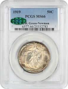 Click now to see the BUY IT NOW Price! 1919 50C PCGS/CAC MS66 EX: COL. GREEN NEWMAN   WALKING LIBERTY HALF DOLLAR