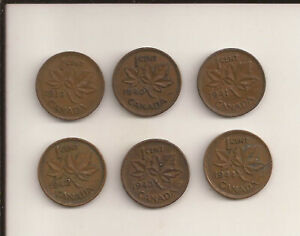1939 TO 1944 CANADA COPPER ONE CENT LOT