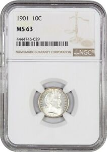 1901 10C NGC MS63   BARBER DIME
