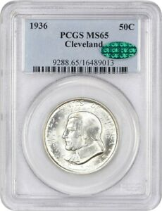1936 CLEVELAND 50C PCGS/CAC MS65   SILVER CLASSIC COMMEMORATIVE