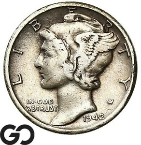 1942/1 D MERCURY DIME HIGHLY COLLECTIBLE CHOICE VF  /XF KEY DATE MINT ERROR