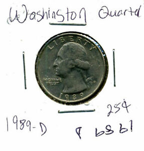 1989 D WASHINGTON QUARTER U.S CIRCULATED  OLD AMERICAN 25 CENT COIN 1144